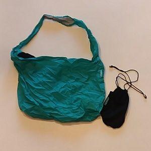 Tieks turquoise bag and black shoe bag bundle